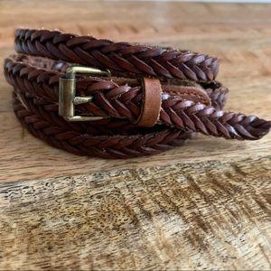 Skinny Braided Leather Belt Genuine Leather